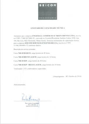 Atestados e Certificações Engehall 2